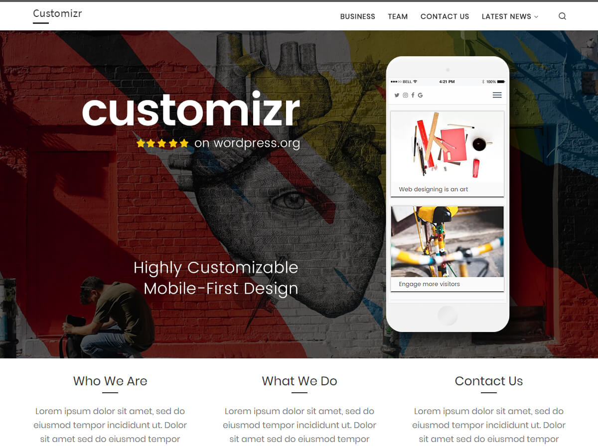 Customizr es un tema limpio y adaptable